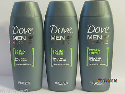 5 Lot Dove Men + Care Face and Body Wash -Extra Fresh 1.8 FL - Travel