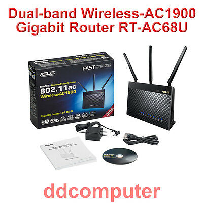 ASUS RT-AC68U Dual Band Wireless AC1900 Gigabit Router 802.11ac 5G WiFi USB 3.0