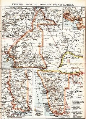 1895 AFRICA CAMEROON TOGO NAMIBIA German Southwest Africa Antique Map