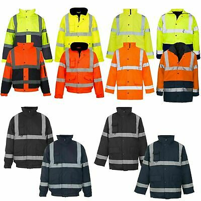 Hi Viz Vis Visibility Security Work Contractor Jacket Waterproof Padded Hooded