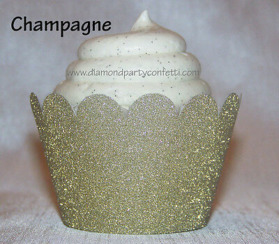 12 Champagne Gold Glitter Cupcake Wrapper Wedding  Party Decoration Favor
