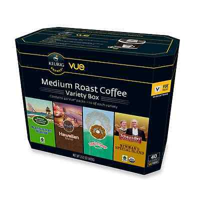 Keurig Medium Roast Coffee VUE Cups Variety Box 40-Count