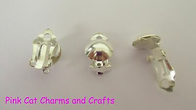 20 x Silver Tone CLIP ON EARRING WITH DOME AND LOOP 15mm Jewellery Findings