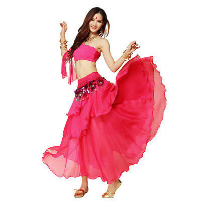 Dancing Costume Belly Dance Spiral Long 3 Layers Skirt Top Belt 8 Colors