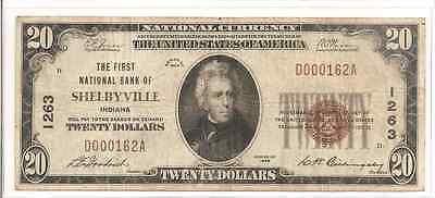 1929 $20 Shelbyville Indiana National Bank Note (s15)
