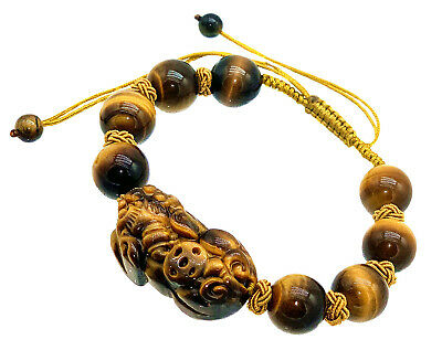 Feng Shui yellow Tiger's beads Eye Pi Yao /Pi Xiu bracelet  for wealth luck