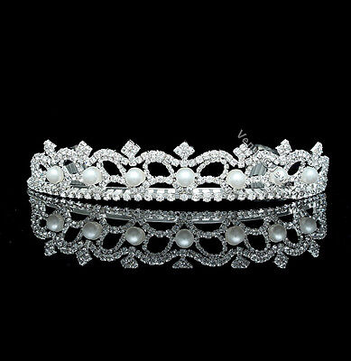 Bridal Rhinestone Crystal Pearl Prom Wedding Crown Tiara 7222