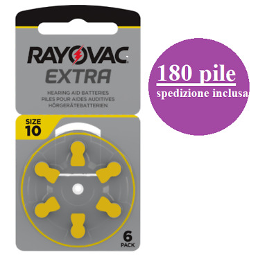 180 pile batterie apparecchi acustici RAYOVAC EXTRA ADVANCED 10 gialle PR70 1.45