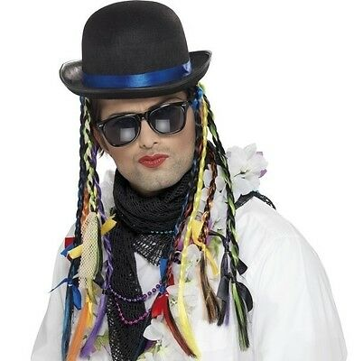 80s 1980s 80's Fancy Dress Chameleon Hat with Plaits Boy George New by Smiffys