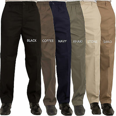 Carabou Mens Rugby Trousers Elasticated Waist Work Casual Golf Plain Pants 32-60