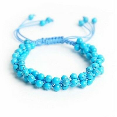 Feng Shui Handmade blue Turquoise Gemstone Bracelet Amulet for peace and fortune