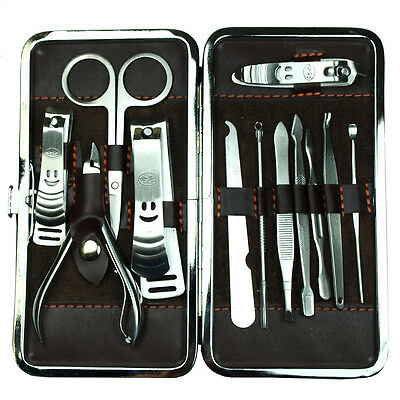 12PCS Pedicure / Manicure Set Nail Clippers Cleaner Cuticle Grooming Kit Case