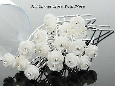 30 x White Floral Hairpins for Deb Weddding Debutante Womens Hair Accessories