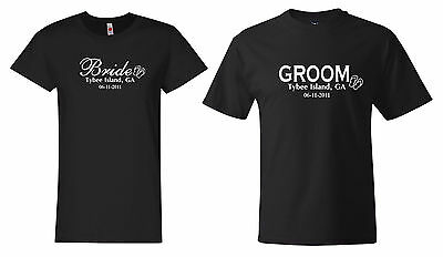 Bride and Groom Custom Wedding  Date and Place T shirts  Hanes shirts