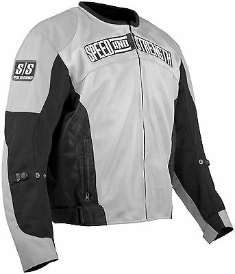 Speed & Strength Trial by Fire Mesh Motorcycle StreetBike Jacket Silver CE Armor