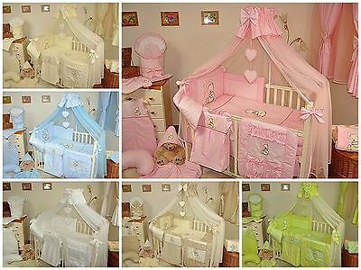 LUXURY 11pcs NURSERY BABY BEDDING SET/CANOPY  TO FIT BABY COT or COT BED/cotbed