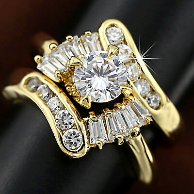 9K Gold Gf Infinity Lab Diamond Antique Engagement Wedding Lady Cluster Ring Set