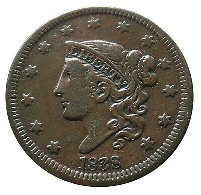 1838 Copper Large Cent Matron Head Coin Condition Extremely Fine
