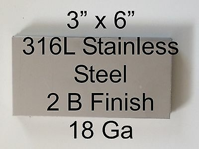 "10 pcs 316L 18 Ga 3"" x 6"" Stainless Steel Plate"