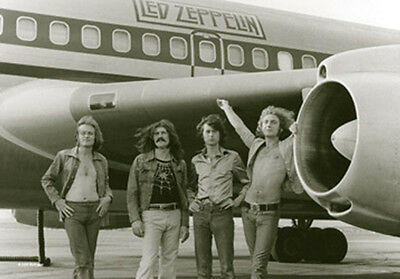 "Led Zeppelin Airplane Group Photo Fabric Poster 30"" X 40"" !"