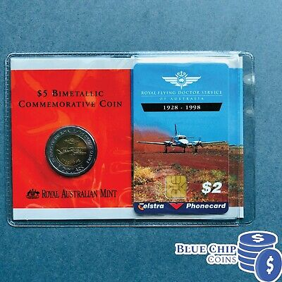 1998 $5 Bimetallic Royal Flying Doctor Service Coin  With Phone Card
