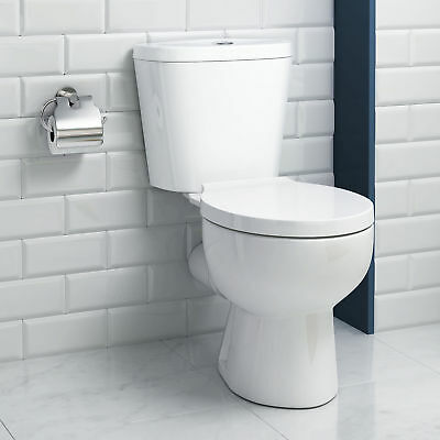 Modern White Ceramic Toilet Close Coupled Bathroom Pan Cistern & Round WC Seat