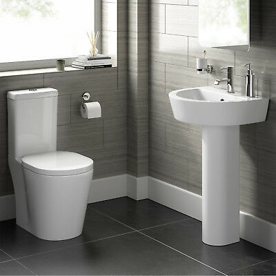 Complete 4 Piece Bathroom Suite Close Coupled Toilet Pedestal Sink Basin CS20