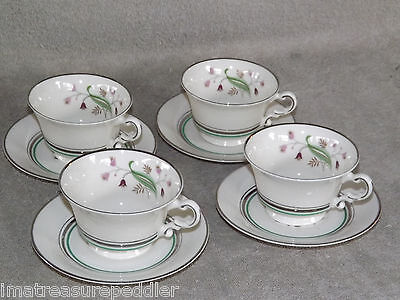 Syracuse China Made in USA Coralbel 4 Cup & Saucer Sets