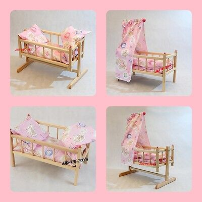 Wooden Pink Rocking Dolls Bed Girls Toy Cot Crib With Canopy  And Duvet 4 Types