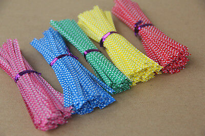 "100Pcs Metallic Dot Twist Ties Wire Bag fasteners Sealing Cake Pops 4 "" 10cm"
