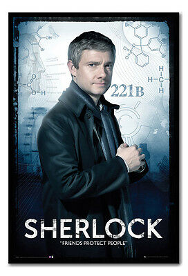 Framed Sherlock Watson Friends Protect People Poster Ready To Hang New