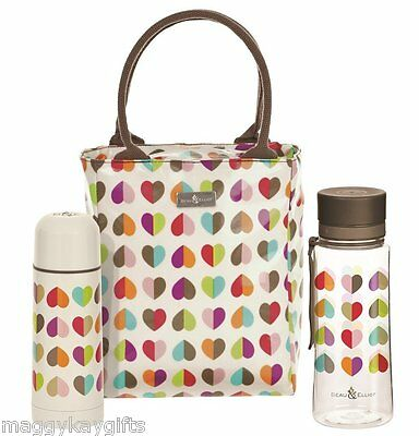 Insulated Lunch Tote Bag - Water Bottle - Flask - Pink - Cream - Beau & Elliott