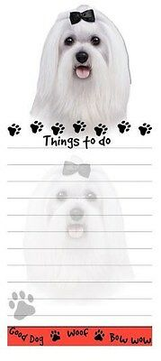 MALTESE DOG DIECUT LIST PAD NOTES NOTEPAD Magnetic Magnet Refrigerator