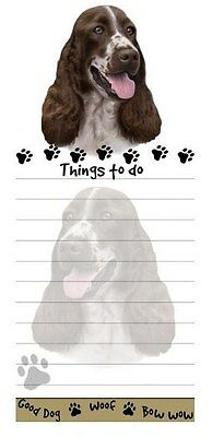 SPRINGER DOG DIECUT LIST PAD NOTES NOTEPAD Magnetic Magnet Refrigerator