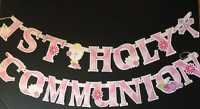 1st holy communion banners pink  /  girls letter banner cardboard