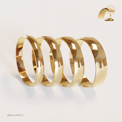 9ct Yellow Gold Wedding Rings D-Shaped Hallmarked Band