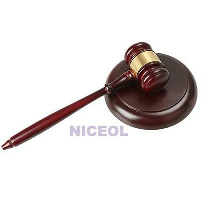 Wooden Handcrafted Wood Gavel Sound Block for Lawyer Judge Auction Sale NEW