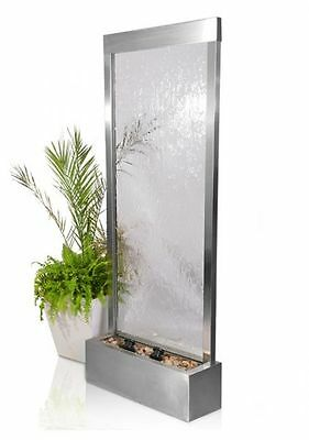 Free Standing Wall Partition Water Feature Fountain Contemporary Glass Steel