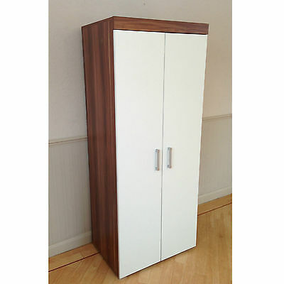 2 Door Double Wardrobe in White & Walnut Bedroom Furniture * NEW * Set available