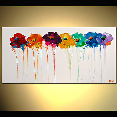 """36"""" Colors on my Wall - PRINT STRETCHED & EMBELLISHED - Art by Osnat"""