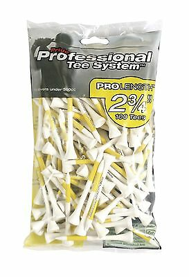 NEW Pride PTS Pro-Length Wooden Golf Tees - 100 Pack - 69mm (2 3/4in) Yellow