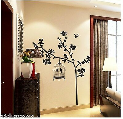 Black Tree And Birdcage Room Wall Art Stickers Vinyl Decal Home Decoration Decor
