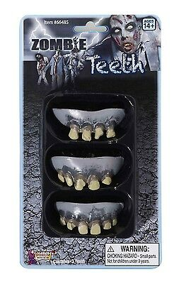 Rotted Rotten Fake Zombie Teeth 3Pack Halloween Costume Accessory Prop Gross NEW