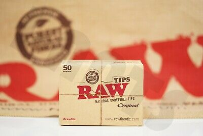 Full Box 50 Packs of AUTHENTIC RAW Rolling Paper Tips Filter Spacer (50 tips)