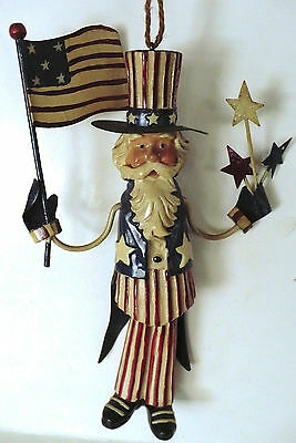 """Uncle Sam Metal Ornament With Stars And Flag 6 1/2"""" Swinging Legs"""
