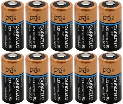 10 x Duracell DL123A Lithium CR123A Batteries