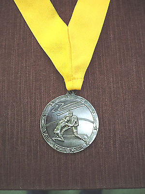 "silver  WRESTLING 2 1/2"" dia medal wide yellow neck drape"