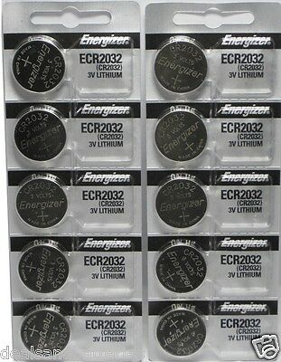 10 Fresh Genuine Energizer CR2032 ECR2032 3v Coin Button Lithium Batteries