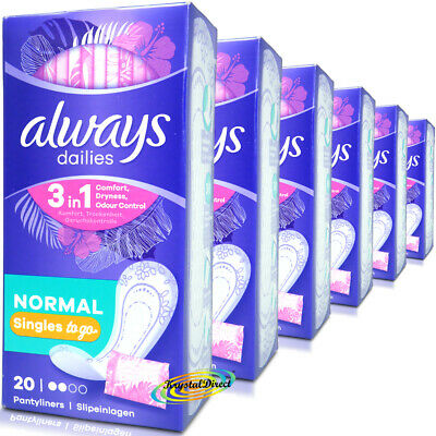 6x Always Dailies Pantyliners Singles Sanitary Pads 20 Normal Wrapped