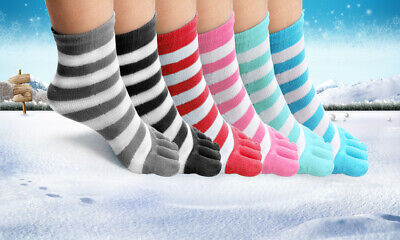 Toe Socks 6 Pair Soft Striped Ladies Women Girls Size 9-11 Fun Color Style